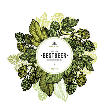 ビールのホップのイラスト。刻まれたスタイルの図。ビンテージ ビール ホップ デザイン テンプレートです。ベクトル図
