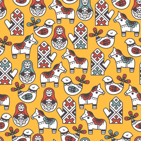 Folk symbols seamless pattern. Kid pattern. Vector illustration Ilustrace
