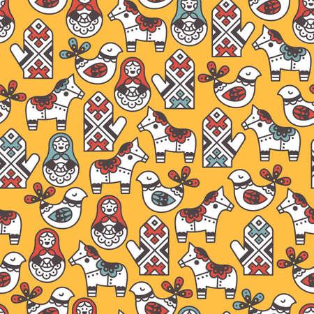 Volks symbolen naadloos patroon. Kid patroon. Vector illustratie Stock Illustratie