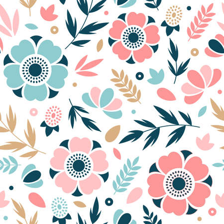 Flower seamless pattern. Floral pattern. Vector illustration