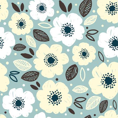 Flower seamless pattern. Anemone flower pattern. Vector illustration