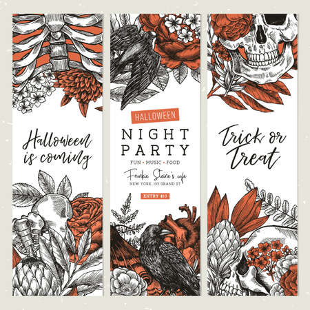 Halloween party banner collection. Vintage floral backgrounds.