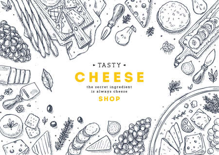 Cheese collection top view illustration. Antipasto table background. Engraved style illustration. Hero image. Vector illustration Stok Fotoğraf - 87880424