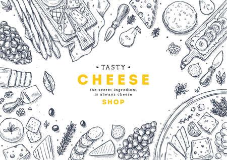 Ilustração de vista superior de coleção de queijo. Antipasto fundo de mesa. Ilustração do estilo gravado. Imagem de herói. Ilustração vetorial
