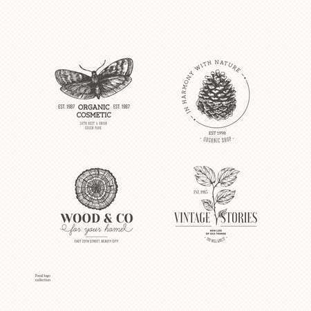 Vintage nature logo collection. Engraved logo set. Vector illustration Vettoriali
