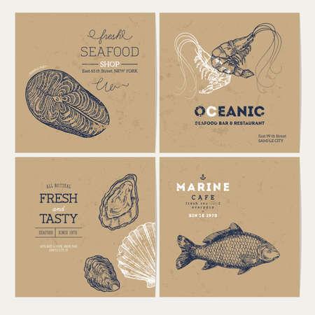 魚介類のデザイン テンプレートのコレクションです。魚はバナー セットです。ベクトル図