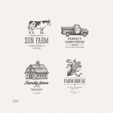 빈티지 농장 음식 로고 컬렉션입니다. 새겨진 된 로고 집합입니다. 벡터 일러스트 레이 션 일러스트