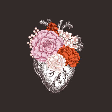 Tattoo anatomy vintage illustration. Floral romantic anatomical heart. Vector illustration