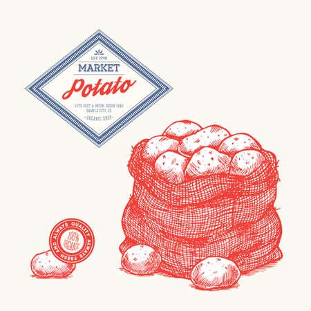 ジャガイモの刻まれたファームのデザイン テンプレートです。ジャガイモの袋。ベクトル図