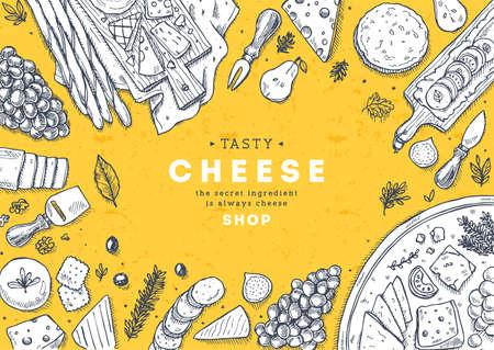 Colección de banner vertical de queso. Fondo de mesa Antipasto. Ilustración de estilo grabado. Imagen de héroe Ilustración vectorial
