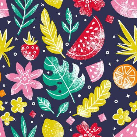 夏の果物や花のシームレスなパターン。楽しさと明るい食品の背景。ベクターイラスト  イラスト・ベクター素材