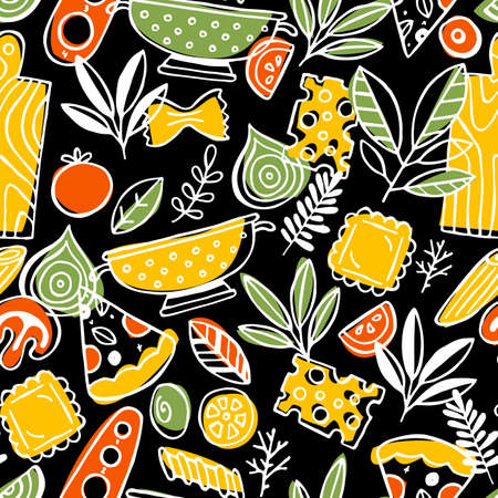 Pizza and pasta seamless pattern. Fun sketchy food background. Vector illustration