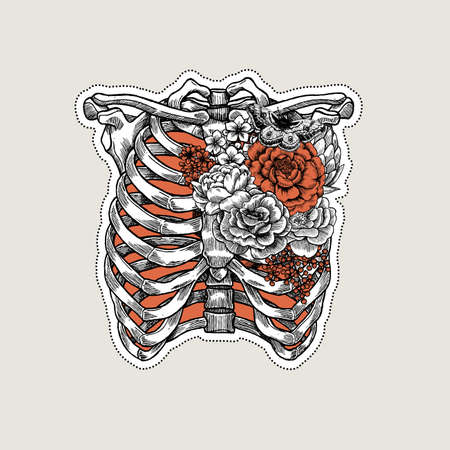 Ilustración de tatuaje anatomía vintage. Rosas en el esqueleto de la costilla y el pecho.