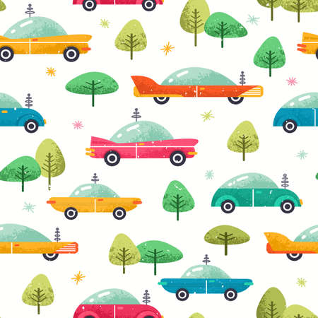 Cute cars seamless pattern. Colorful cars background. Vector illustration