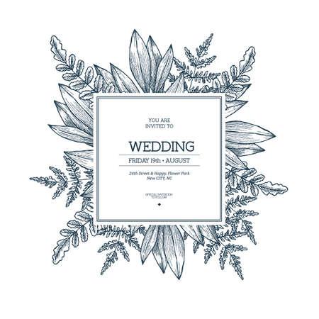 Wilde bladeren bruiloft uitnodiging. Vintage floral ontwerpsjabloon. Vector illustratie Stockfoto - 87880469