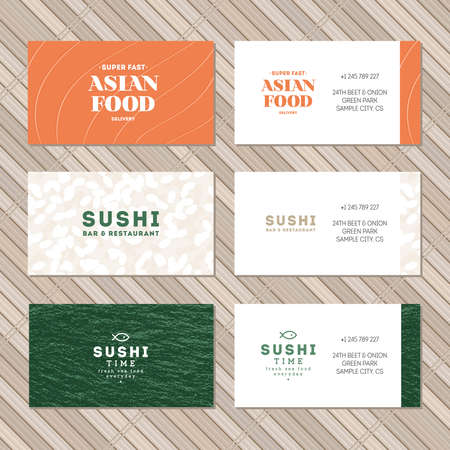 Sushi business card collection. Set of asian food identity cards. Vector illustration Ilustracja