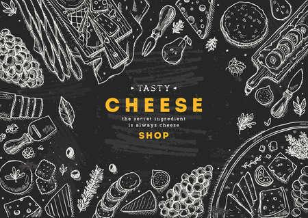 Ilustración de la vista superior de la colección de queso. Fondo de mesa Antipasto. Ilustración de estilo grabado. Imagen de héroe Ilustración vectorial Foto de archivo - 87880472
