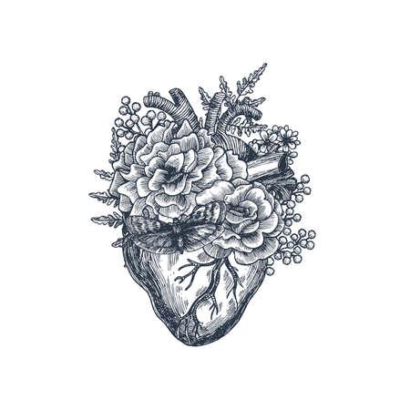 문신 해부학 빈티지 그림입니다. 꽃 해부학 심장입니다. 벡터 일러스트 레이 션 일러스트