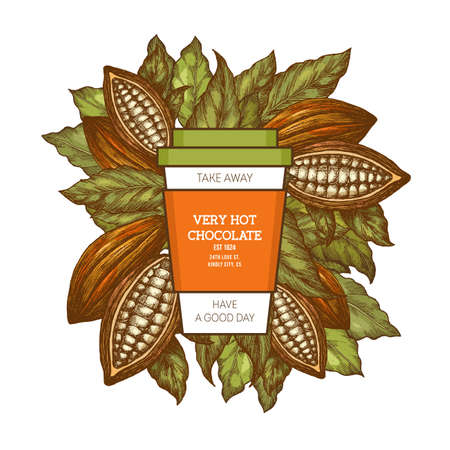 Take away hot chocolate design template. Cocoa cup and leaves. Vector illustration