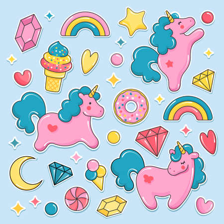 Unicorn cute elements collection. Balloons set. Unicorn, ice cream, rainbow, sweets, diamonds. Vector illustration