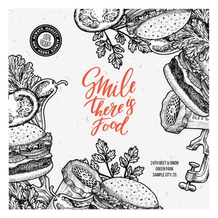 temlate: Fastfood Burger design template. Linear graphic. Snack collection. Junk food. Engraved illustration. Vector illustration