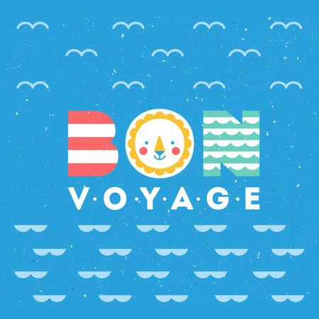 かわいい海テーマのイラスト。カラフルなボン航海カード。ベクトル図