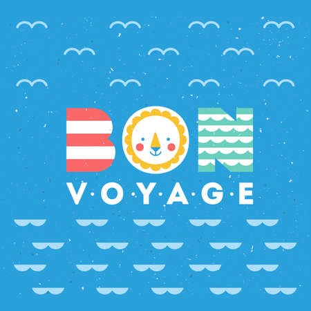 Cute sea theme illustration. Colorful bon voyage card. Vector illustration