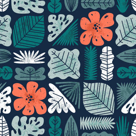 Tropical leaves seamless pattern. Textured jungle background. Vector illustration Illustration