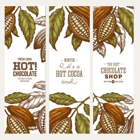 Collection de bannière d'arbre de haricot de cacao.