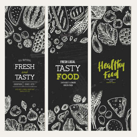 Healthy food blackboard banner collection.