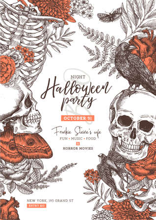 Halloween party poster. Vintage floral anatomy background. Stock Photo