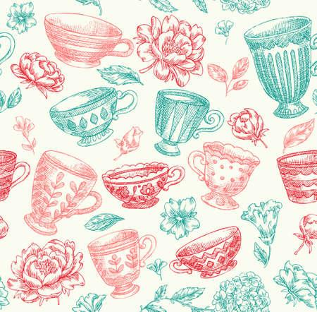 Vintage floral rustic seamless pattern.