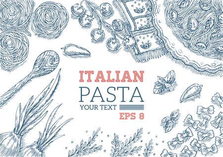 イタリアのパスタのデザインの背景。