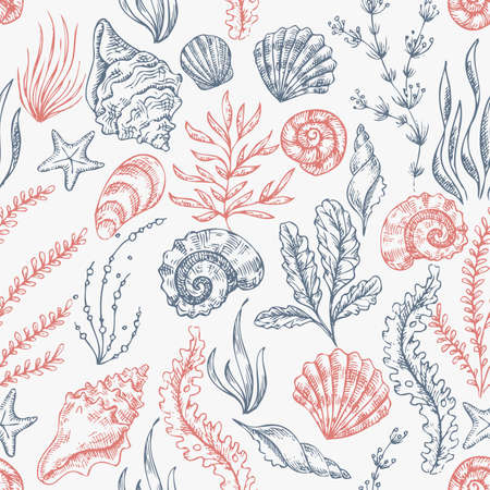 Sea shells pattern Vettoriali