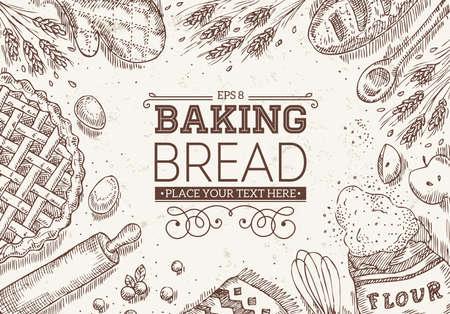 ビンテージ パンの上面図。パン屋さんのデザイン テンプレートです。ベクトル図