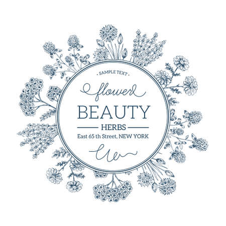 Hand Drawn Vintage Beauty Herbs. Round Composition design template. Vector illustration. Illustration