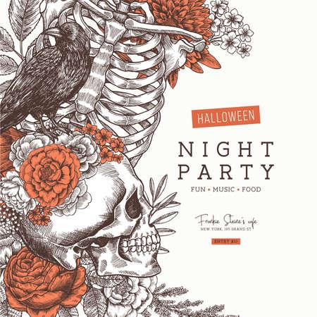 ハロウィンパーティー招待状ヴィンテージ花の解剖学の背景。ベクターイラスト  イラスト・ベクター素材