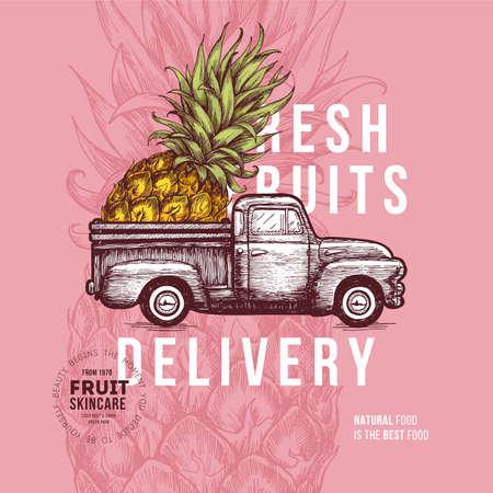 Fruit delivery design template illustration.