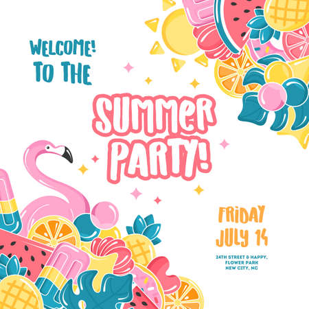 Summer party design template. Balloons set. Flamingo, ice cream, watermelon, sun, monstera, pineapple. Vector illustration