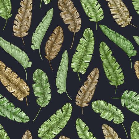 Tropische bananenbladeren naadloze patroon. Vector illustratie