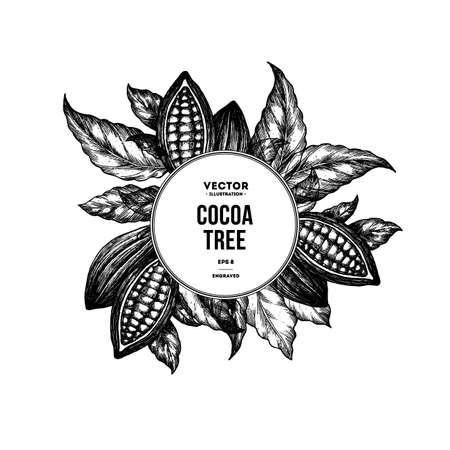 Choco bean ontwerpsjabloon gegraveerde stijl illustratie.