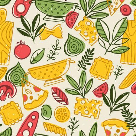 ピザとパスタのシームレスなパターン。楽しいスケッチ食品背景。ベクトル図  イラスト・ベクター素材