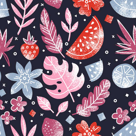 夏の果物と花のシームレスなパターン。楽しくて明るい食品背景。ベクトル図