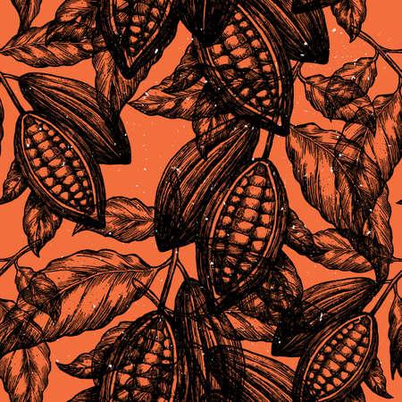 코코아 콩 나무 원활한 패턴입니다. 새겨진 된 스타일 그림입니다. 초콜릿 코코아 콩. 벡터 일러스트 레이 션