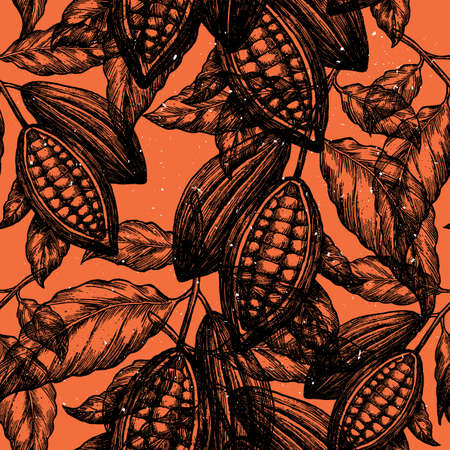 Cocoa bean tree seamless pattern. Engraved style illustration. Chocolate cocoa beans. Vector illustration Vettoriali