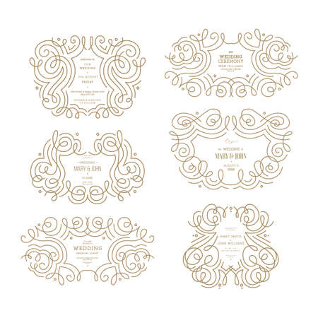 Wedding ornamental frames collection. Thin line vintage wedding compositions. Vector illustration Illustration