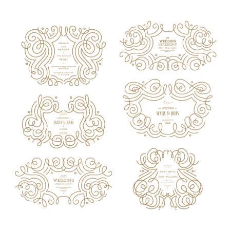Wedding ornamental frames collection. Thin line vintage wedding compositions. Vector illustration