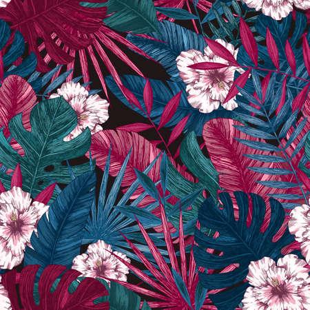 エキゾチックな葉し、花のシームレスなパターン。熱帯の花の背景。ベクトル図