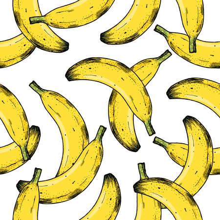 バナナのシームレスなパターン。楽しい果物背景。ベクトル図