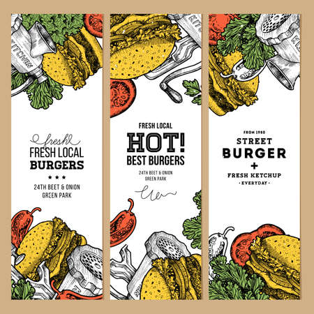temlate: Fast food banner collection. Linear graphic. Snack collection. Junk food. Engraved illustration. Vector illustration Illustration